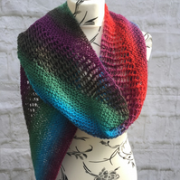 Handknit Lace and Garter Stitch Multicoloured Bias Knit Scarf