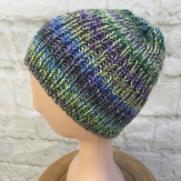 Hand knitted chunky yarn ribbed beanie hat