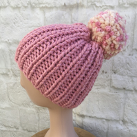 SALE Super Chunky Hand Knitted Ribbed PomPom Hat