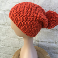 Hand Knitted Super Chunky Seed Stitch Pompom Hat