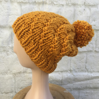 Hand Knitted Mustard Yellow Pompom Hat Super Chunky