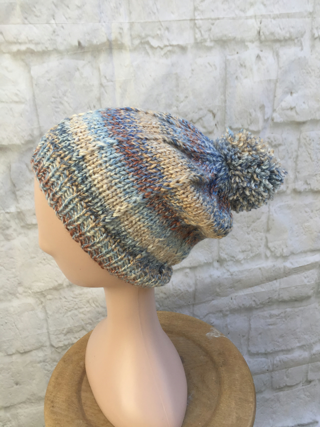 Hand Knitted Slouchy PomPom Hat