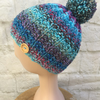 Handknit Small Adult Teen Pompom Bobble Hat