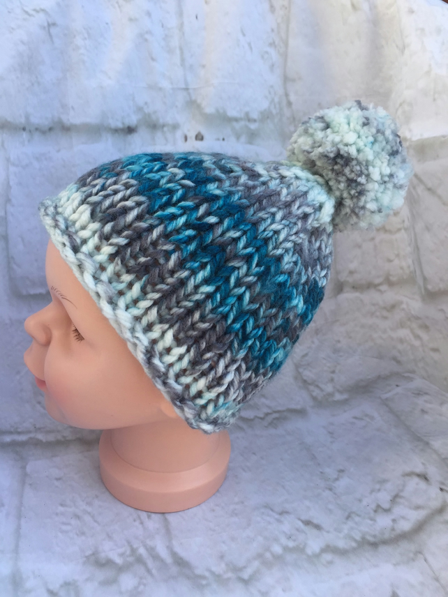 Hand Knitted Toddler Pom Pom Hat
