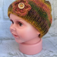 Hand Knitted Baby Girl Beanie Hat with Flower Trim (3-6 months)