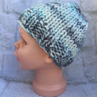 Hand Knitted Chunky Yarn Baby Hat