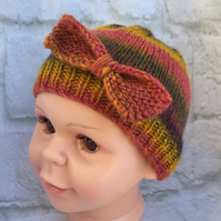 Hand Knitted Baby Toddler Girl Beanie Hat with Bow Trim