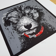 Original Dog Lino Print (RED collar option)
