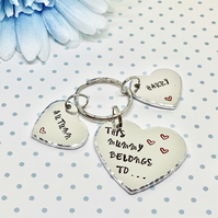 Personalised Hand Stamped This Mummy Belongs To Keyring