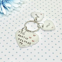 Personalised Auntie Gift. Hand Stamped This Auntie Belongs To Keyring.