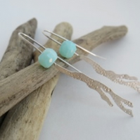 Silver Seaweed and Peruvian Opal gemstone earrings