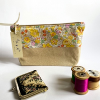 Liberty print make up bag - toiletries bag - small project bag