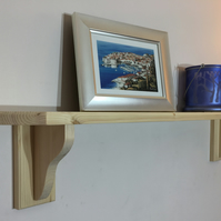 Small Solid Pine shelf with Small Brackets H17cm x D13cm - Choice of 8 Colours
