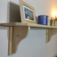 Large Solid Pine shelf with Large Brackets H26.5cm x D22cm - Choice of 8 Colours