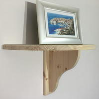 Large Half Round Solid Pine Shelf With Bracket-240mm Radius-Choice of 8 Colours
