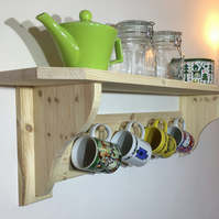 Solid Pine Shelf and Mug Rack - Choice of 8 Colours or Sanded