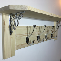 Solid Pine Shelf and Coat Rack With Chrome Brackets and Hooks -  8 Colours