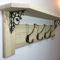 Solid Pine Shelf & Coat Rack With Antique Brass Coat Hooks & Brackets- 8 Colours