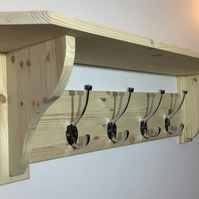 Solid Pine Coat Rack and Shelf With Chrome Coat Hooks - Choice of 8 Colours