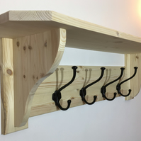 Solid Pine Coat Rack and Shelf With Black Cast Iron Coat Hooks - 8 Colours