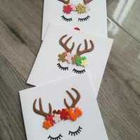 3 pack Christmas reindeer cards - Can be made in bulk