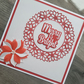 Merry and bright handmade christmas card - Red and white