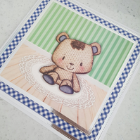 Bear handmade greeting card - blue gingham - age or relation can be added