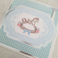 Boys 1st birthday card - blue gingham check handmade card