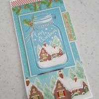 Cosy Christmas handmade greeting card- let it snow