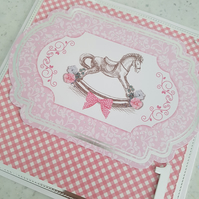 Girls first birthday card -pink gingham check and rocking horse