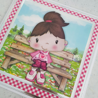 Girl on a bench handmade greeting card - brown haired girl -birthday