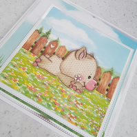 Children's pig handmade greeting card