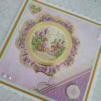 Just for you, enjoy your day little girl handmade card -purple card