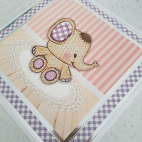 New baby, first birthday, second birthday handmade greeting card. -cute elephant