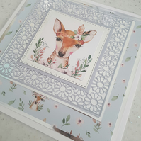 Cute deer handmade greeting card - Blank card - sentiment to be added