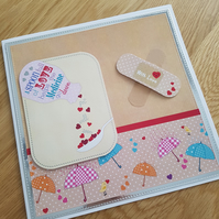 Get well soon handmade greeting card - A spoon full of love helps the medicine