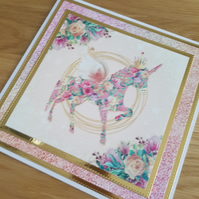 Flowered unicorn handmade birthday card - 8x8 inches - sentiment to be added