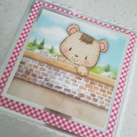 Bear  handmade birthday card - ready to be personalised