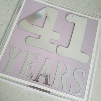 Age or anniversary years handmade greeting card -personalised