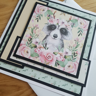 Cute racoon handmade greeting card- Sentiment or relation to be added on request