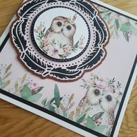 Black feather, owl handmade greeting card - sentiment to be added on request