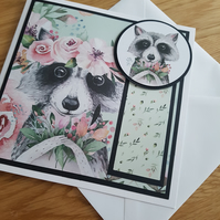 Blank handmade raccoon greeting card - sentiment or relation to be added