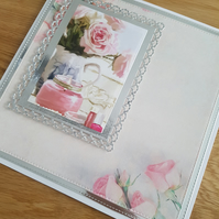 Blank flowered handmade greeting card - awaiting a sentiment - Roses,