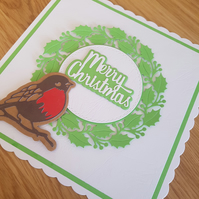 Light green handmade Chritmas cards - Robin & holly design