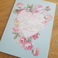 Special auntie handmade card - Friends and family collection