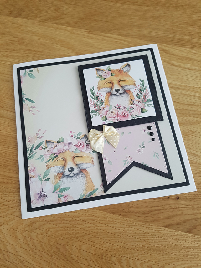 Blank fox handmade card - sentiment to be added to suit