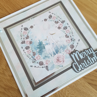 Merry Christmas handmade greeting card, xmas, festive time, pink, foilage