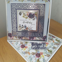 Sending Birthday wishes - Large twisted easel card - Flowers, feathers