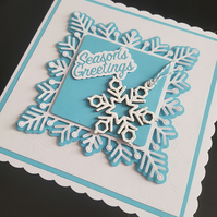 Blue and white handmade season's greeting christmas card