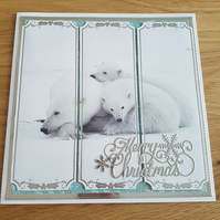 Polar bear handmade 8x8 inch Christmas card - Merry Christmas